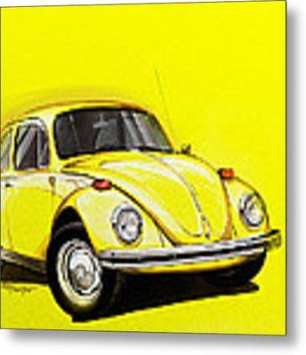 Volkswagen Beetle Vw Yellow Metal Print