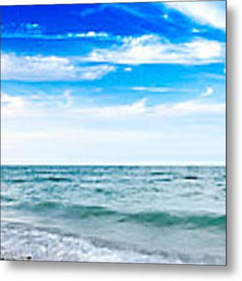 Walking The Shore - Extended Metal Print by Steven Santamour