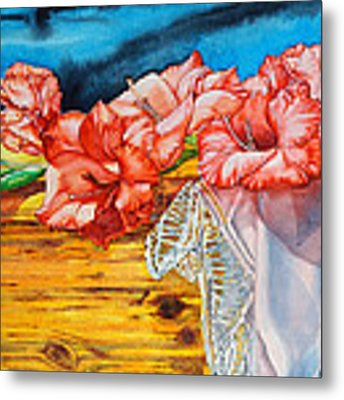 Watercolor Exercise Gladiolas Metal Print by Xavier Francois