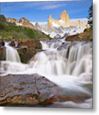 Los Glaciares Waterfall Metal Print by Yva Momatiuk John Eastcott