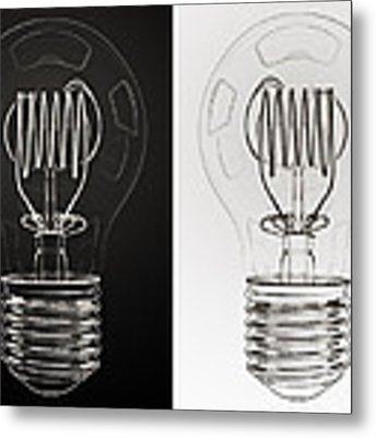 White Bulb Black Bulb Metal Print by Scott Norris