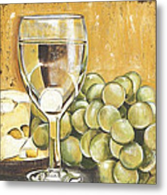 White Wine And Cheese Metal Print