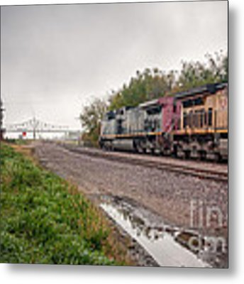 Winona Mn Train Scene Puddle Metal Print by Kari Yearous