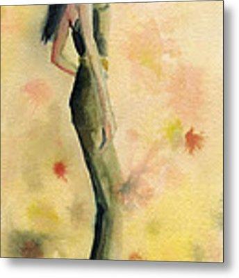 Woman In A Green Jumpsuit Fashion Illustration Art Print Metal Print