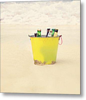 Bucket Of Beer On The Beach. Metal Print by Kim Fearheiley