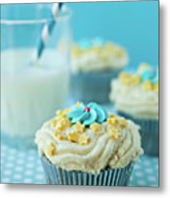 Cup Cake With Stars Topping Metal Print