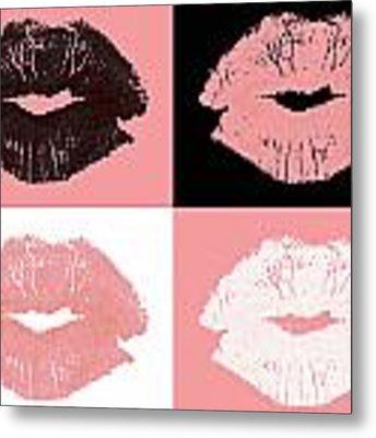 Graphic Lipstick Kisses Metal Print