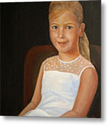 Portrait Of A Girl Metal Print by Katalin Luczay