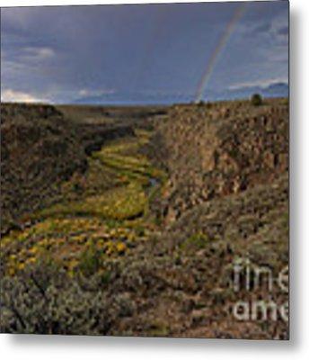 Rainbow Over The Rio Pueblo Metal Print by Ron Cline