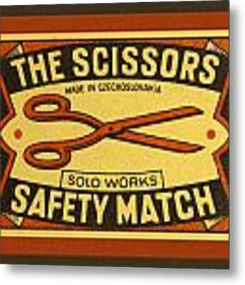 The Scissors Safety Match Metal Print by Carol Leigh