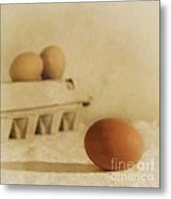 Three Eggs And A Egg Box Metal Print