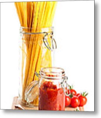 Tomatoes Sauce And  Spaghetti Pasta  Metal Print