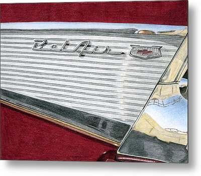 1957 Chevrolet Bel Air Convertible Metal Print by Rob De Vries