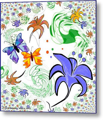 556 - Flowers And Butterflies Metal Print by Irmgard Schoendorf Welch
