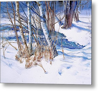 A Snowy Knoll Metal Print by June Conte  Pryor