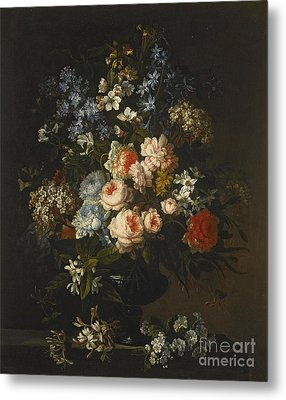 A Still Life Of Roses, Hyacinth, Honeysuckle And Other Flowers In A Glass Vase On A Ledge Metal Print