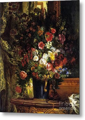 A Vase Of Flowers On A Console Metal Print