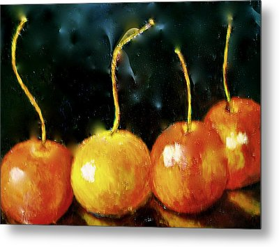 Metal Print featuring the painting  All Cherries In A Row by Marie Hamby