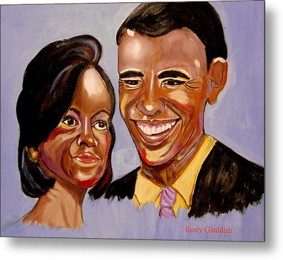 Barak And Michelle Obama   The Power Of Love Metal Print by Rusty Woodward Gladdish