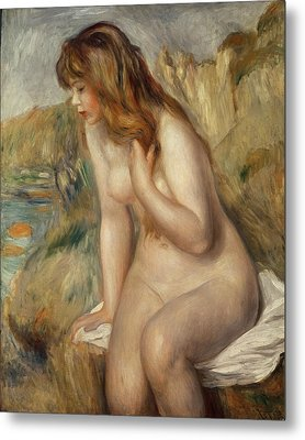 Bather Seated On A Rock Metal Print by Pierre Auguste Renoir