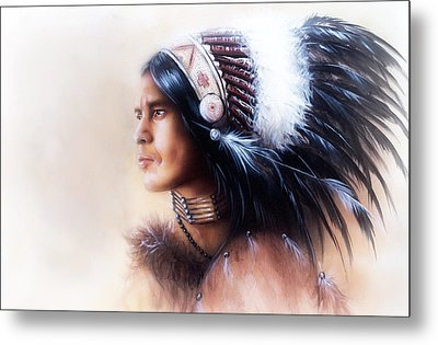 Beautiful Painting Of A Young Indian Warrior Wearing A Gorgeous Feather Headdress Profile Portrait Metal Print by Jozef Klopacka