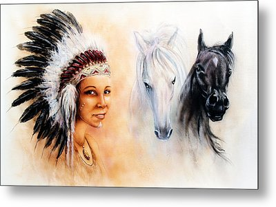 Beautiful  Painting Of A Young Indian Woman Wearing A Gorgeous Feather Headdress  Metal Print by Jozef Klopacka