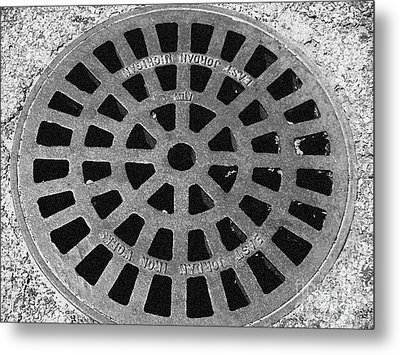 Black And White Manhole Cover Metal Print by Emily Kelley