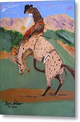 Bronco Rider On A Horse Metal Print