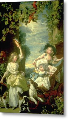 Bucoloic Painting By Honore Fragonard Metal Print by Carl Purcell