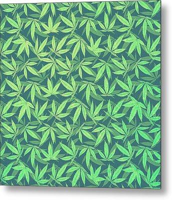 Cannabis   Hemp  420   Marijuana  Pattern Metal Print