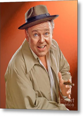 Carroll O'connor As Archie Bunker Metal Print by Stephen Shub