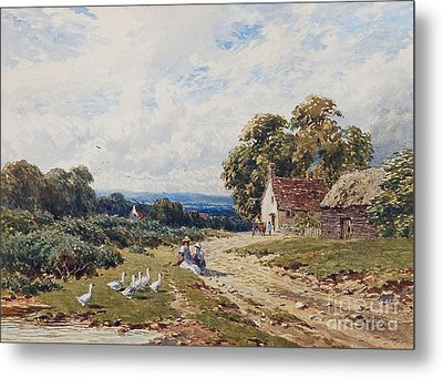 Children And Geese Before A Cottage Metal Print by MotionAge Designs