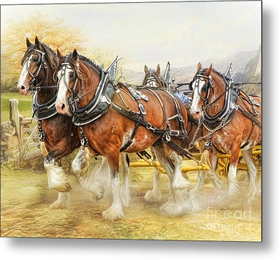 Metal Print featuring the digital art  Clydesdales In Harness by Trudi Simmonds
