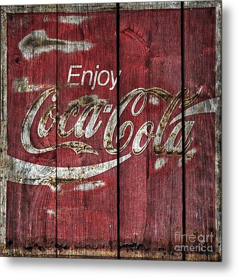 Coca Cola Sign Barn Wood Metal Print by John Stephens