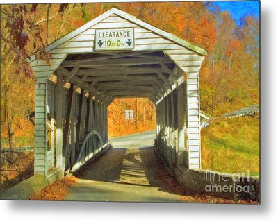 Metal Print featuring the photograph  Covered Bridge Watercolor  by David Zanzinger