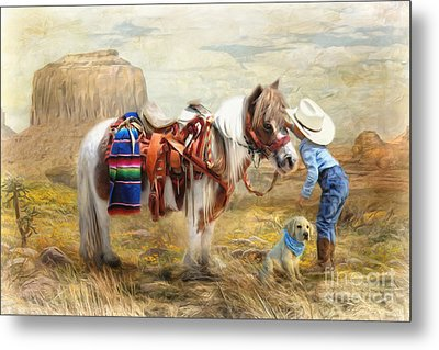 Metal Print featuring the digital art  Cowboy Up by Trudi Simmonds