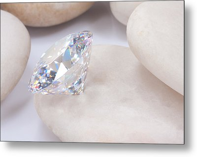 Diamond On White Stone Metal Print