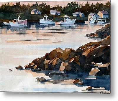 Docked At Dusk Metal Print by Art Scholz