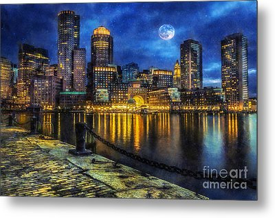 Downtown At Night Metal Print by Ian Mitchell