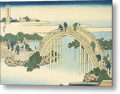 Drum Bridge Of Kameido Tenjin Shrine From The Series Wondrous Views Of Famous Bridges In All The Pr Metal Print by Katsushika Hokusai