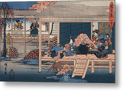 Envoys From The Shogun Approach Lady Kaoyo  Metal Print by Hiroshige