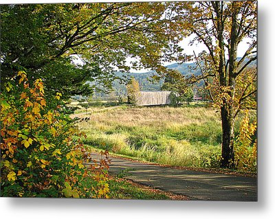Fall At Grays River Covered Bridge Metal Print by Ansel Price