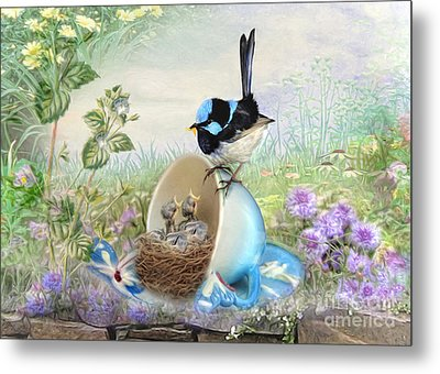 Metal Print featuring the digital art  Feed Time by Trudi Simmonds