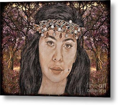 Filipina Model Kaye Anne Toribio In A Mystical Forest. Metal Print
