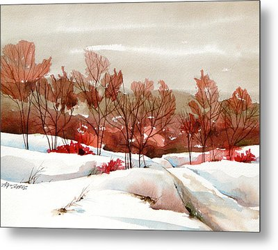 Frosted Red Metal Print by Art Scholz