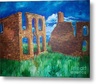 Metal Print featuring the painting  Ghost Town  by Eric  Schiabor
