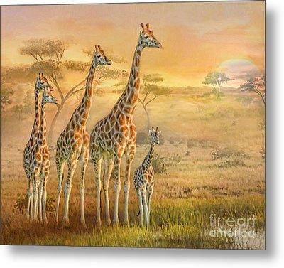 Metal Print featuring the digital art  Giraffe Family by Trudi Simmonds