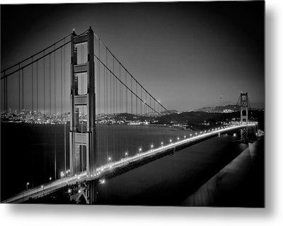 Golden Gate Bridge At Night Monochrome Metal Print