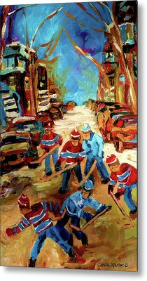 Hockey Paintings Of Montreal St Urbain Street Winterscene Metal Print by Carole Spandau