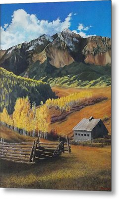 Metal Print featuring the painting  I Will Lift Up My Eyes To The Hills Autumn Nostalgia  Wilson Peak Colorado by Anastasia Savage Ealy